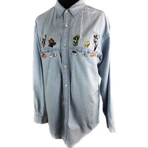 Rad vintage denim loony tunes top shirt